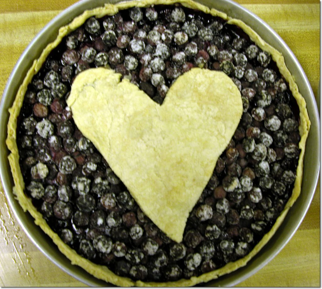 Blueberry Pie with a pie crust heart