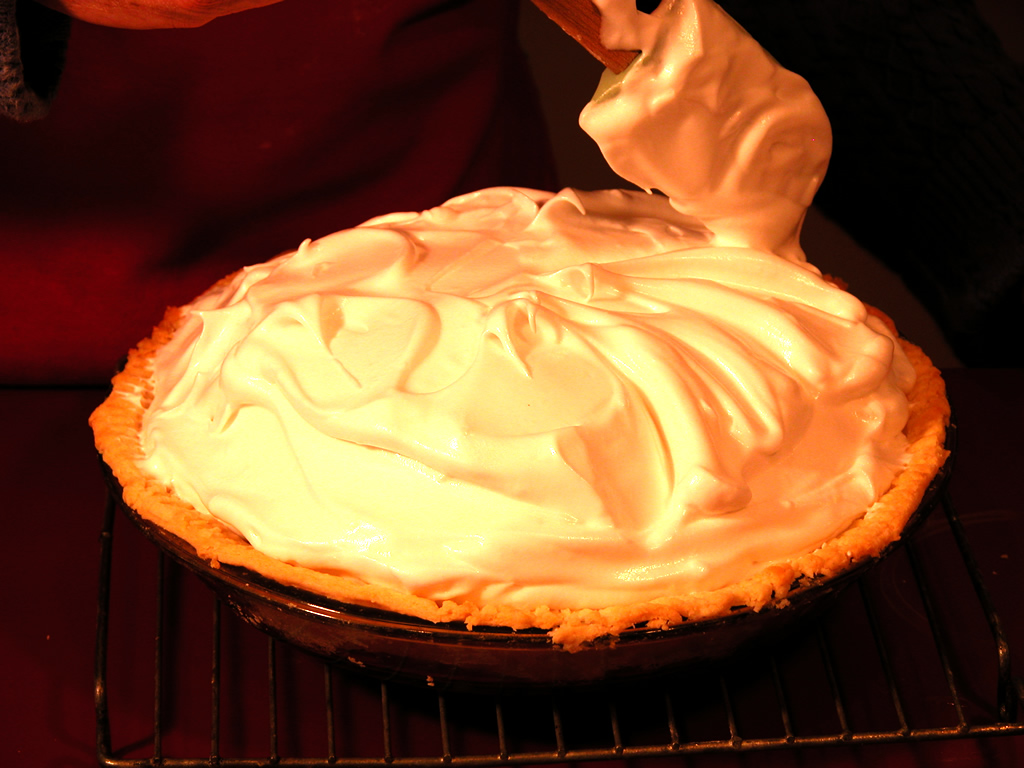 Swirling the Meringue on a Pie