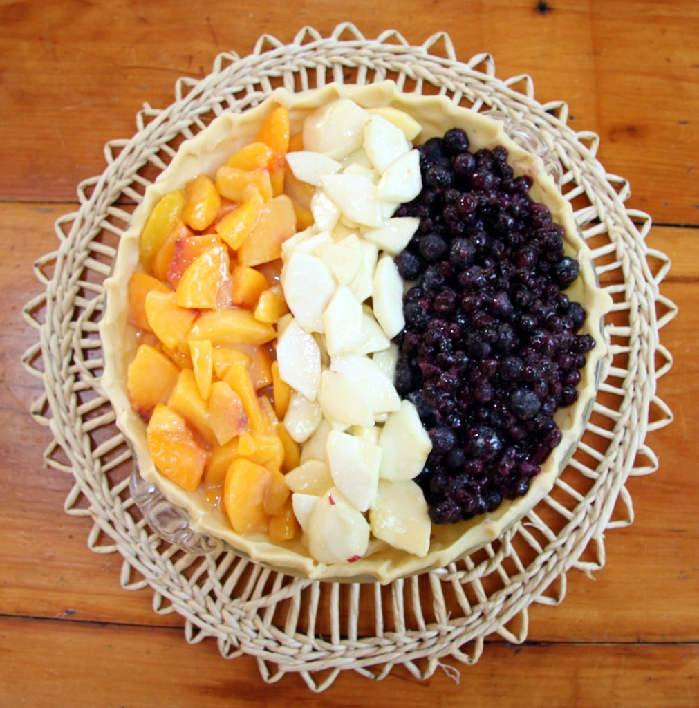 Three-Fruit Pie: Peaches, Apples, Blueberries